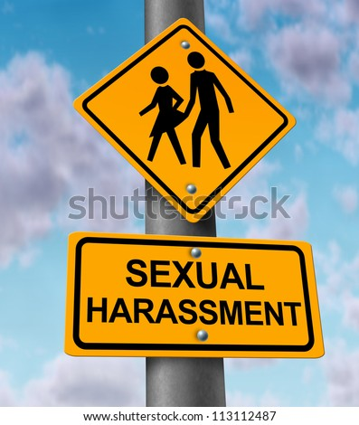 Sexual harassment and sex abuse with a yellow street or highway sign on a blue sky with a woman victim and a man bullying icon in the process of a physical assault at the workplace or in private.