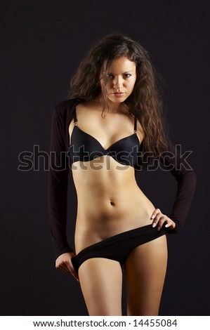 sexual young girl in black underclothes
