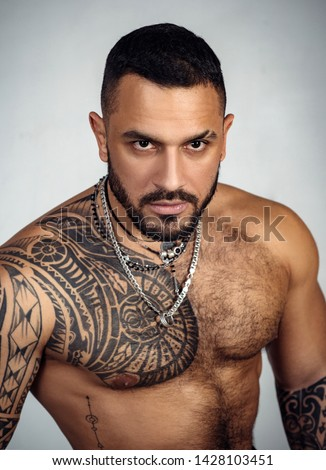 sexy abs of tattoo man. male fashion. muscular macho man with athletic body. confidence charisma. sport fitness health. brutal sportsman torso. steroids. Sport success. success in healthy lifestyle.