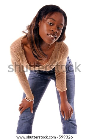 Sexy African American woman in casual urban fashions,