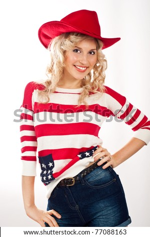Sexy american-dressed girl in red hat