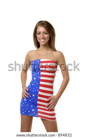 stock photo sexy american woman wearing an american flag tube dress smiling 894832 stock photo : Sexy American woman wearing an American Flag tube dress, ...
