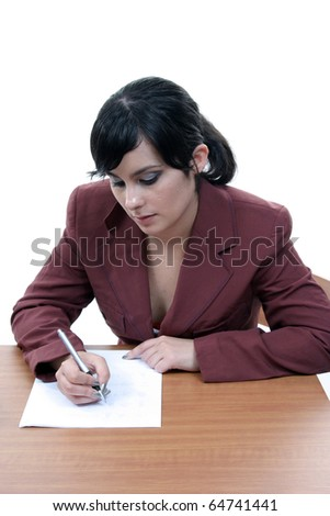 sexy and beautiful woman designing and writing