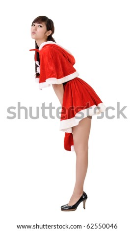 Sexy and cute Christmas lady of Asian pose, full length portrait isolated on white.