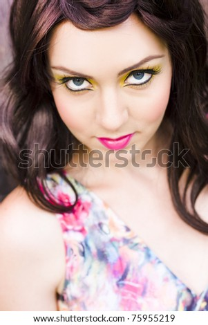 seductive eye makeup. stock photo : Sexy And Seductive Young Woman In Creative Eye Makeup Gives A Flirtatious And
