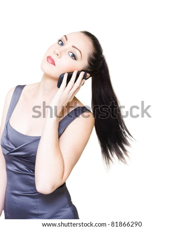 Sexy And Stylish Young Business Woman Rushing Around At Fast Pace While On A Business Communication Cell Phone Conversation In A Business On The Move Concept
