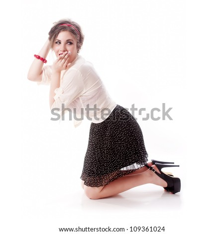 Sexy and young isolated pin up girl on white background