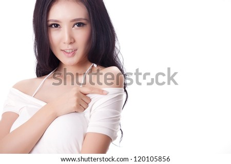 Sexy Asian woman isolated on white background