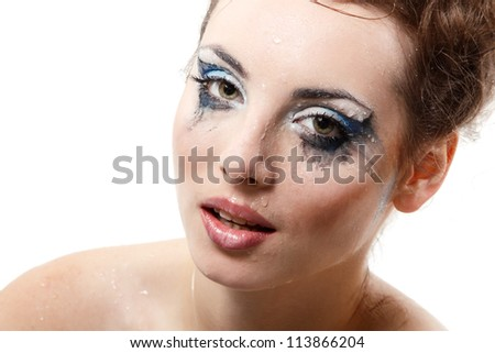 sexy beautiful wet washing make-up woman over white background