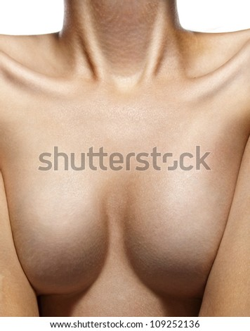 Sexy beautiful woman nude breast isolated on white background - stock photo