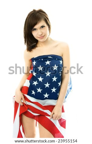 sexy beautiful young nude woman wrapped into an American flag