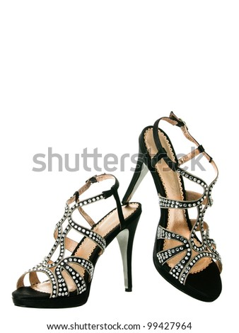 Sexy blingbling cocktail women shoes isolated on white background
