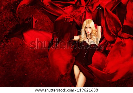 Sexy Blonde Fantasy Woman with Splashing Red Silk