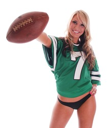 Sexy Blonde Girl with football and football jersey