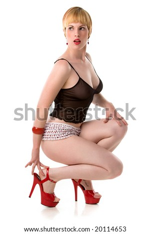 stock photo : sexy blonde pin-up in red heels