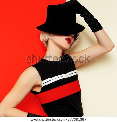 Sexy Blonde retro style vintage clothing. Minimal Fashion. Cabaret Art