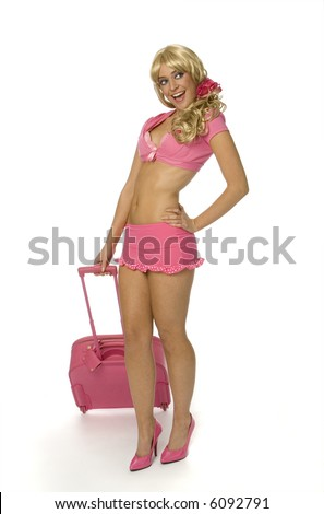 stock photo : Sexy blonde woman in tiny pink outfit holding pink suitcase on ...