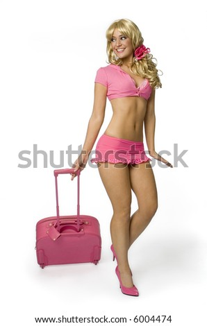 stock photo : Sexy blonde woman in tiny pink outfit walking with pink ...
