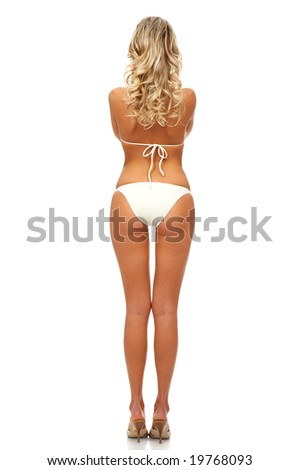Sexy blonde woman. Isolated over white background