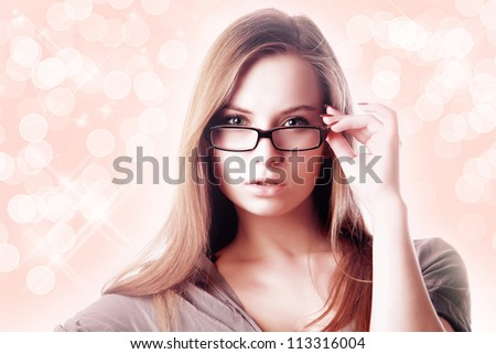 Sexy blonde woman wearing glasses