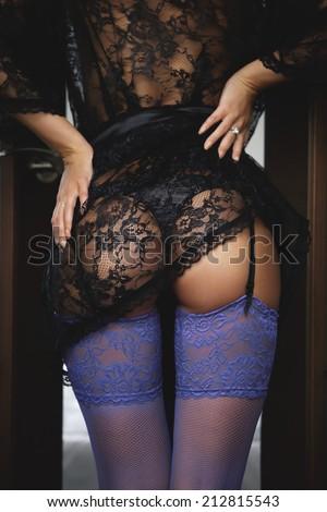 sexy body black lingerie robe...