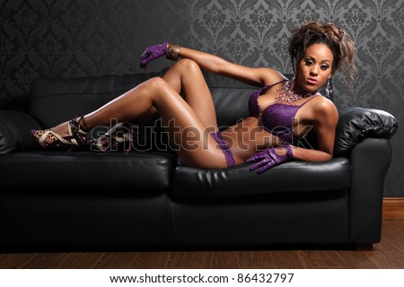 stock photo sexy body of beautiful young african american glamour model woman wearing purple lace lingerie and 86432797 black velvet gloves with faux bracelet and ring attached to one glove. Adult ...