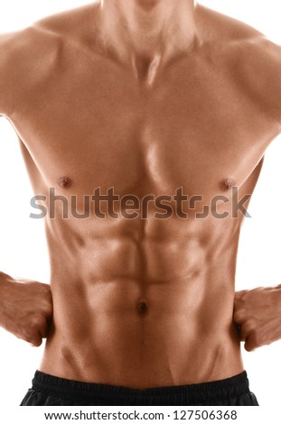 Sexy body of muscular athletic man, isolated on white