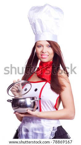 sexy brunette cook wearing uniform and holding a  pot, isolated against white background