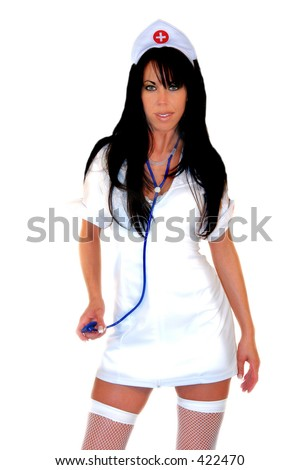 stock photo : Sexy brunette fantasy nurse with stethoscope