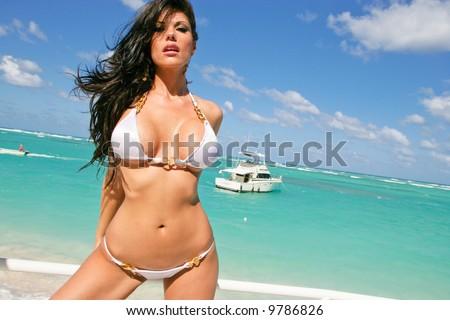 Sexy Brunette In A White Bikini By The Ocean Stock Photo 9786826 Shutterstock