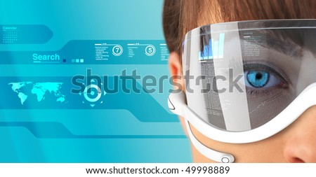 Sexy brunette in future glasses and headset close-up (outstanding business people in interiors / interfaces series)