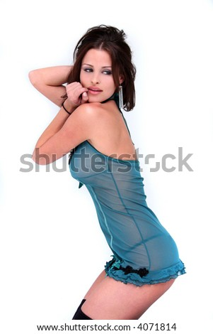 Sexy brunette lingerie model - stock photo