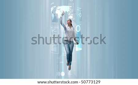 Sexy brunette operating data (Attractive young adults in futuristic interfaces / interiors series)