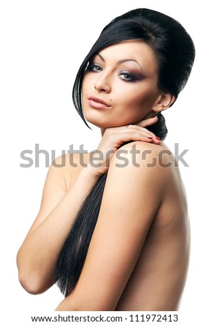 sexy brunette woman on white background