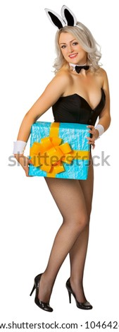 Sexy Bunny with a gift in the hands isolated on white