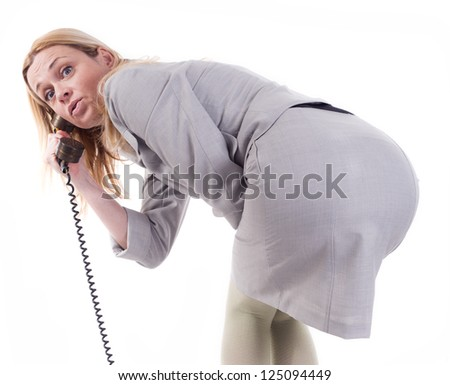 sexy business women with old phone