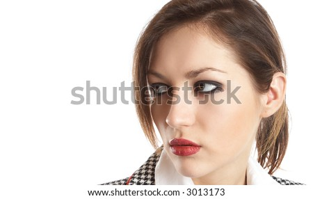 Sexy Businesswoman Portrait with great green eyes isolated over white background