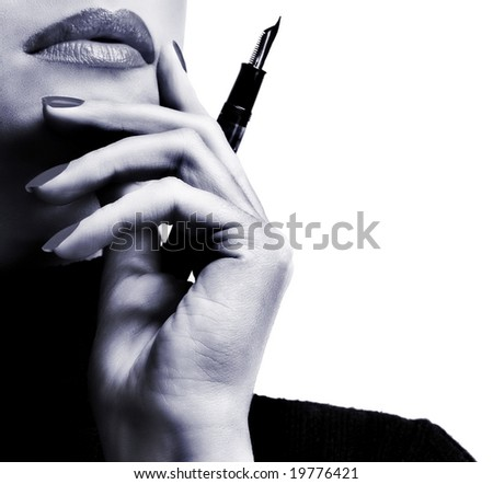 Sexy businesswoman teacher student woman girl holding a pen in her hand lipstick lipgloss makeup fountain pen thinking