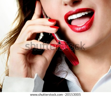 Sexy businesswoman teacher student woman girl mouth red lipstick lipgloss makeup talking on the phone