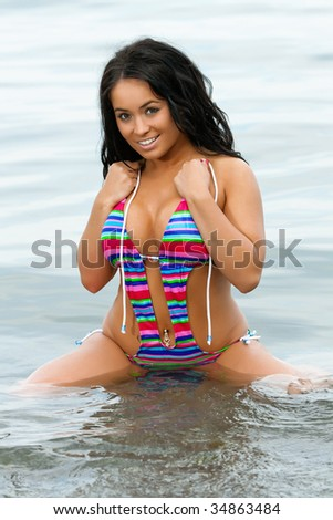 stock photo sexy busty swimsuit model on the beach