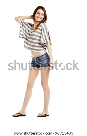 Sexy caucasian wearing hot pants posing against white background - Isolated