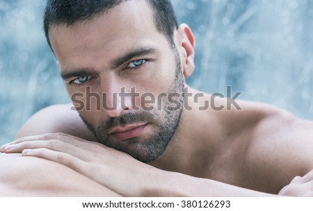 Sexy closeup portrait of handsome topless male model. Beautiful eyes. #380126293