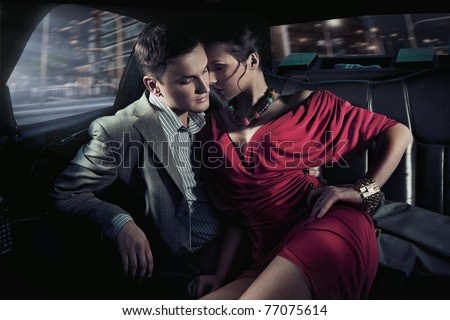 Sexy couple in car