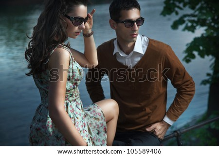 Sexy couple wearing sunglasses