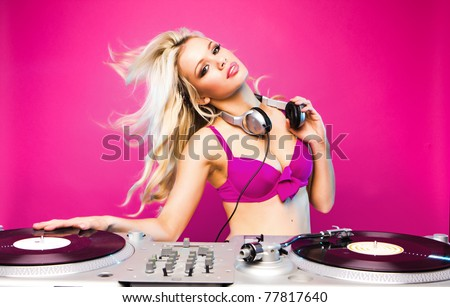 sexy dj woman on pink background