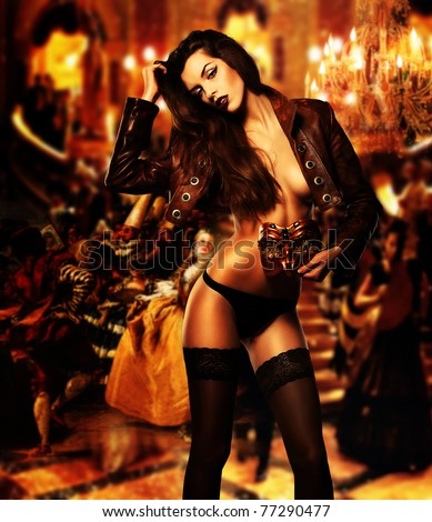 sexy erotic woman with mask on masquerade ball
