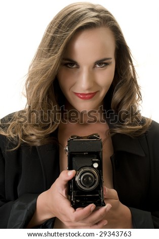 Sexy Fashion Model with Antique Folding Camera.