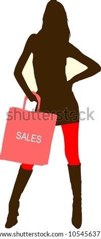 Sexy fashion-victim girl with shopping sales bag - isolated illustration