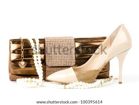 Sexy fashionable shoe and handbag  isolated on white background.