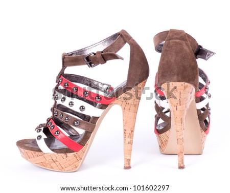 Sexy fashionable shoes isolated on white background.
